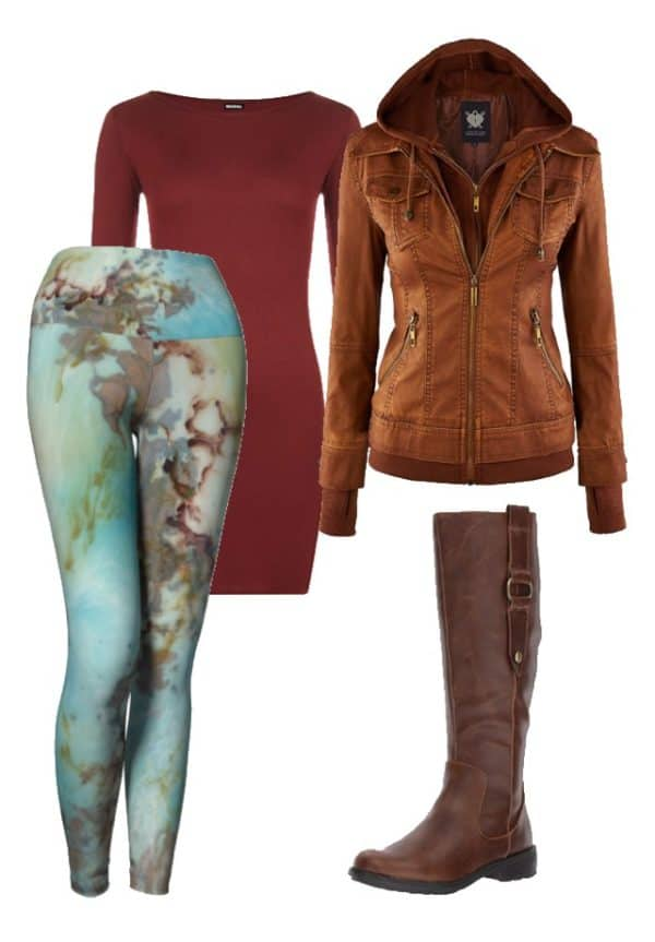 Leggings Copper Abstract Art Leggings Outfit Ideas 2