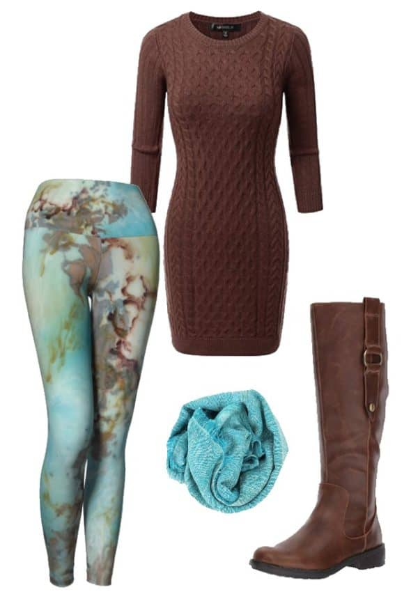 Leggings Copper Abstract Art Leggings Outfit Ideas 3