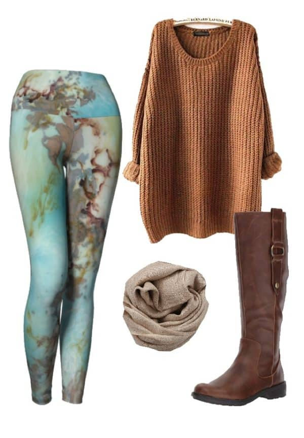 Leggings Copper Abstract Art Leggings Outfit Ideas 4