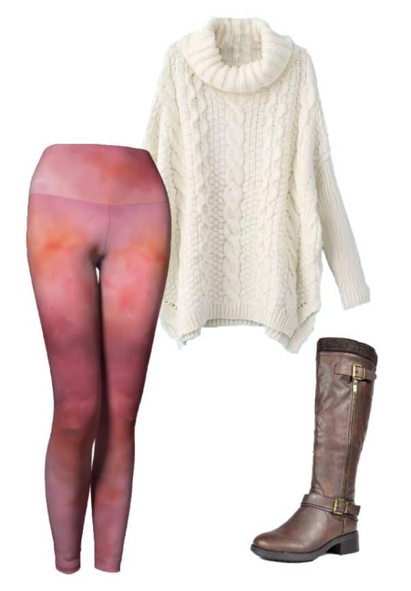 Leggings Pink Abstract Art Leggings Outfit Ideas 1 1