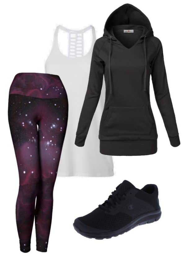 Leggings Purple Galaxy Leggings Outfit Ideas 4