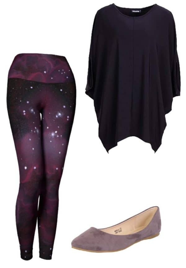 Leggings Purple Galaxy Leggings Outfit Ideas 5