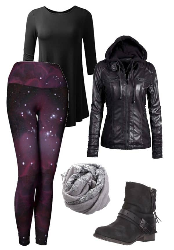 Leggings Purple Galaxy Leggings Outfit Ideas 6