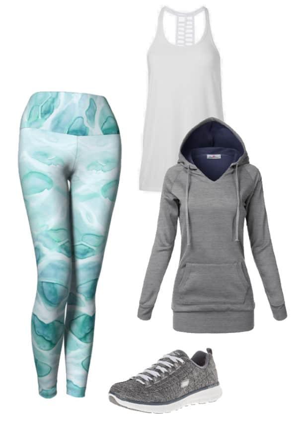 Leggings Watercolor Sea Leggings Outfit Ideas 2