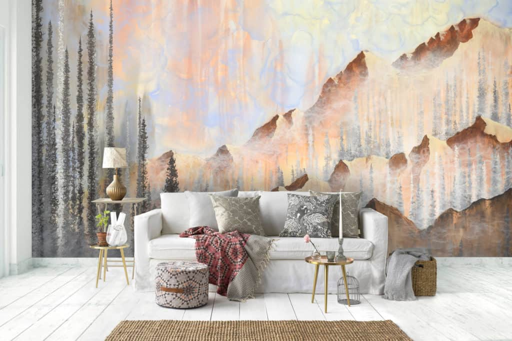 Afterburn Mountain Landscape Wall Mural by Emily Magone