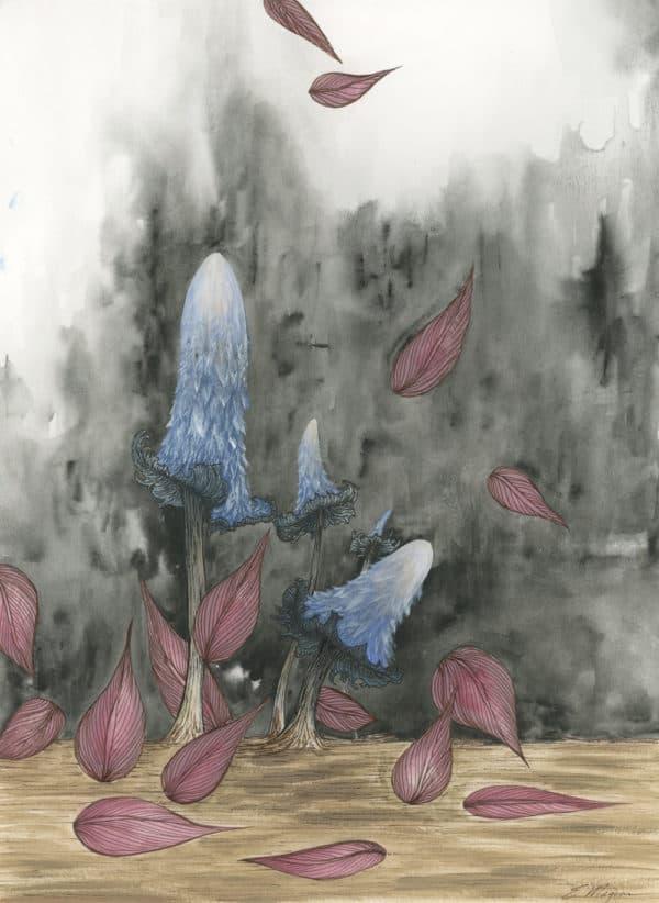 Original Painting Blue Mushrooms Two