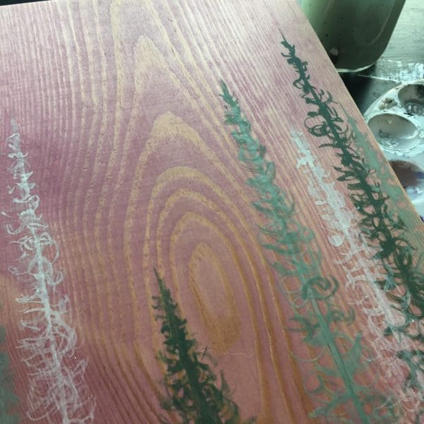 Original Painting Trees on Wood 10 1 1