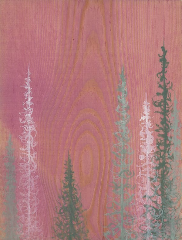 Original Painting Trees on Wood 10 5 1