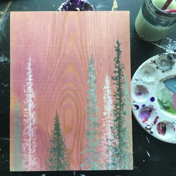 Original Painting Trees on Wood 10 7 1