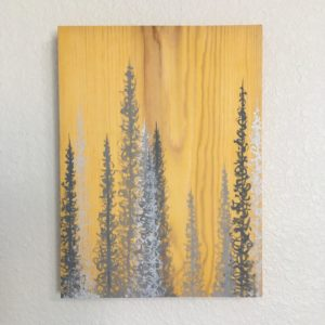 Original Painting Trees on Wood 11 4
