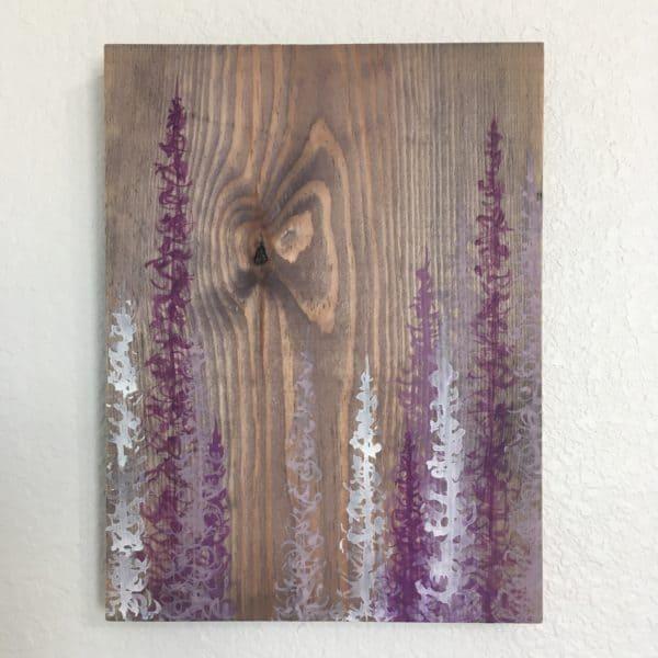 Original Painting Trees on Wood 12 3 1