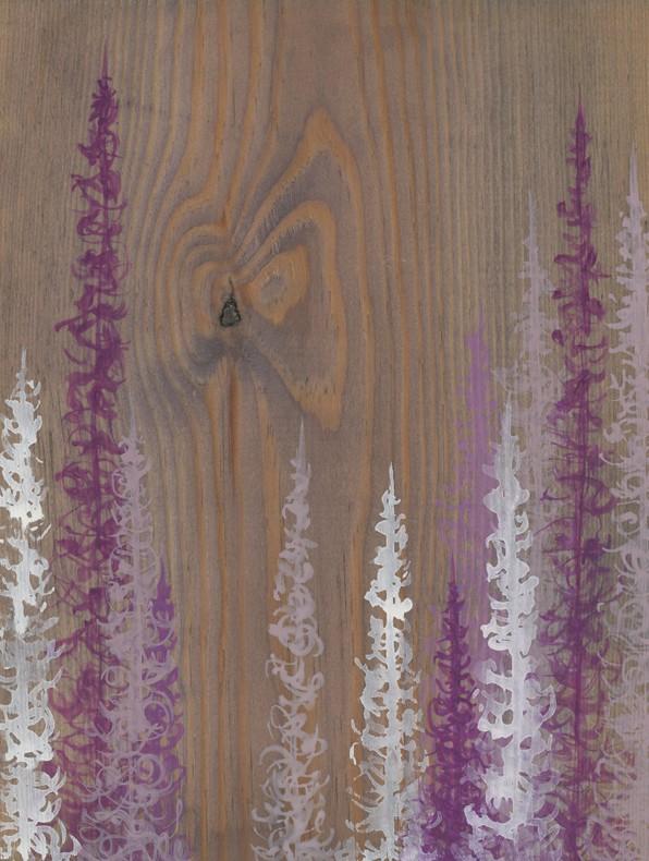 Original Painting Trees on Wood 12 5