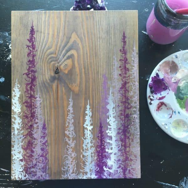 Original Painting Trees on Wood 12 6