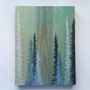 Original Painting Trees on Wood 15 3