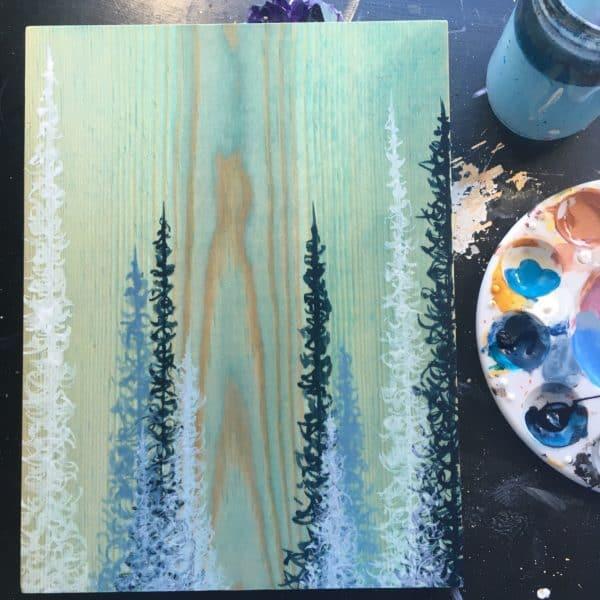 Original Painting Trees on Wood 15 7