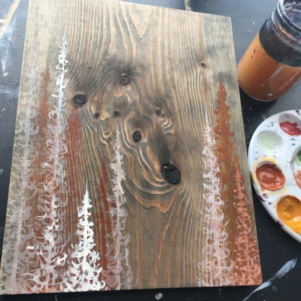 Original Painting Trees on Wood 4 3 1