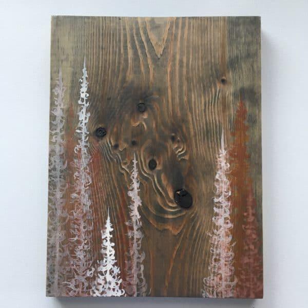 Original Painting Trees on Wood 4 7