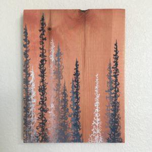 Original Painting Trees on Wood 7 2 2