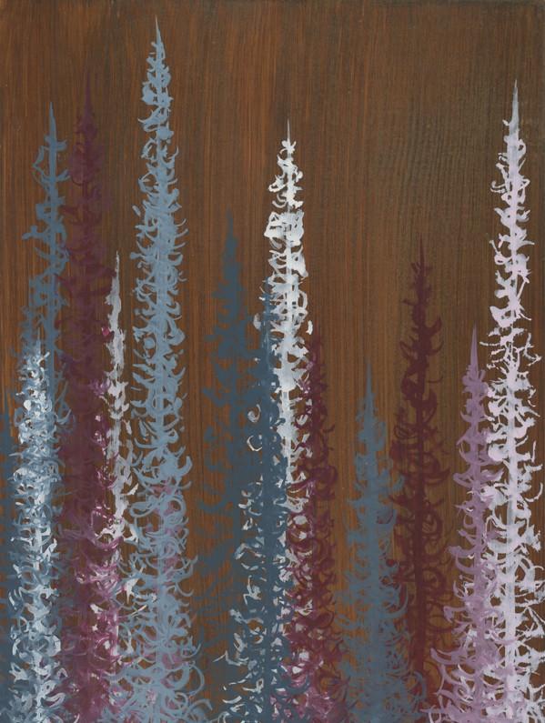 Original Painting Trees on Wood 8 2