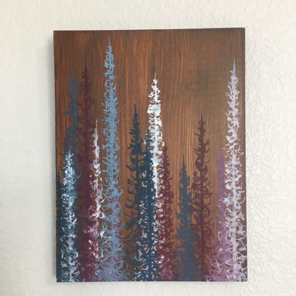 Original Painting Trees on Wood 8 5 1