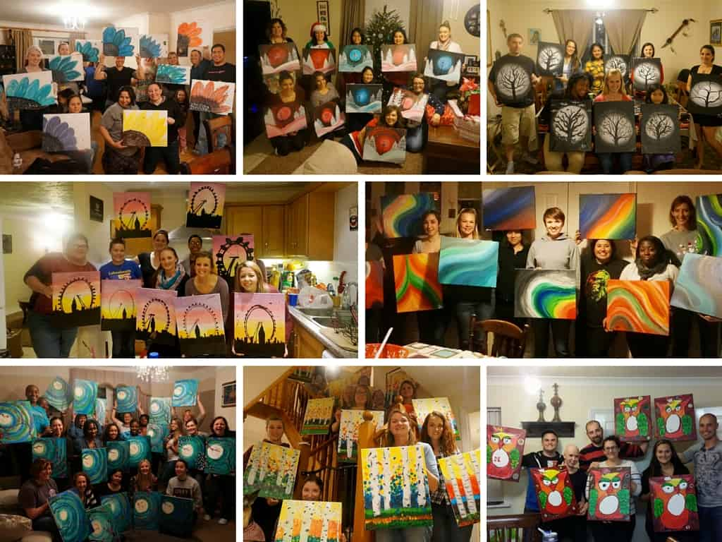 Painting Party Business Party Collage