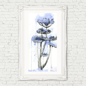 Prints Blue Mushrooms Print 9