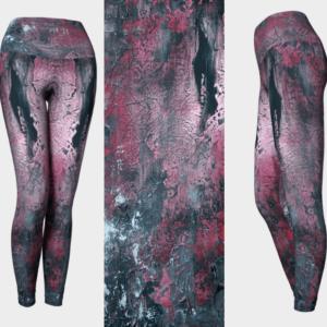 Red Abstract Art Leggings
