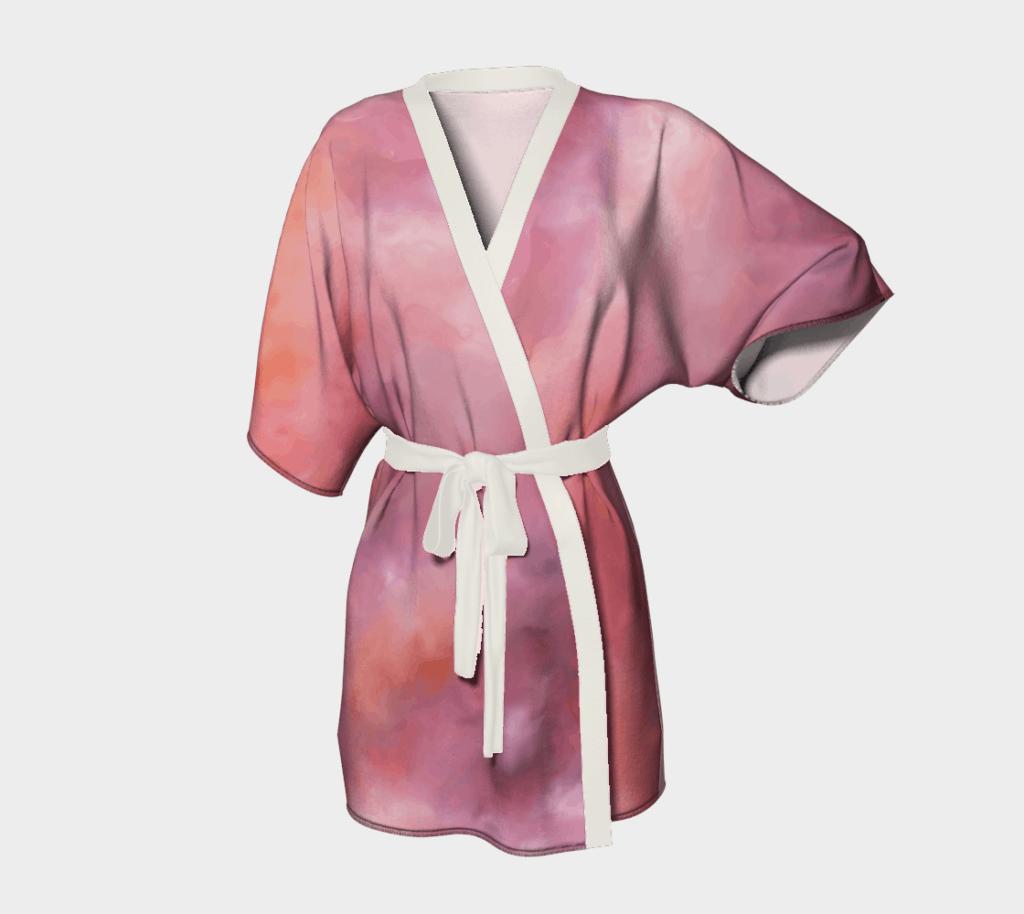 Robe Pink Abstract Kimono Robe 2